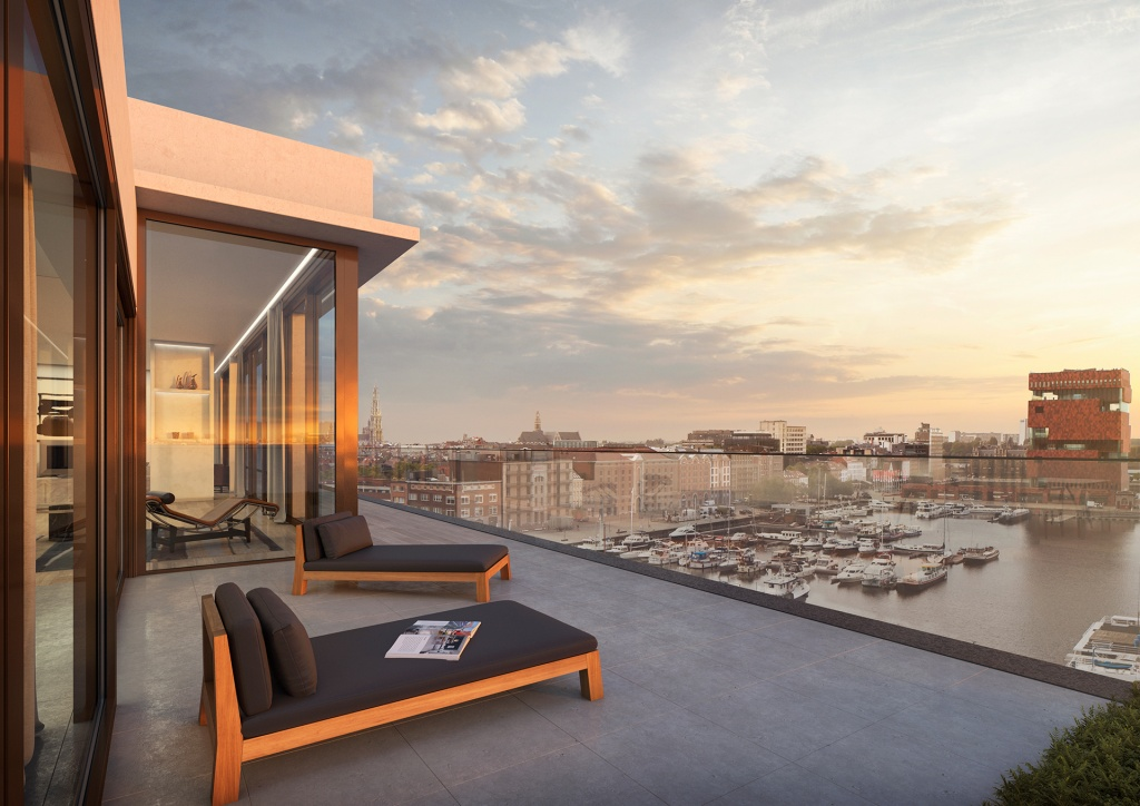 Project Aequor Penthouse terras Willemdok Antwerpen